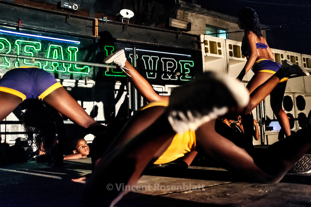 "Show of the ""Desejadas"" girls band at the Baile Funk of Acari's favela in the Zona Norte of Rio de Janeiro."