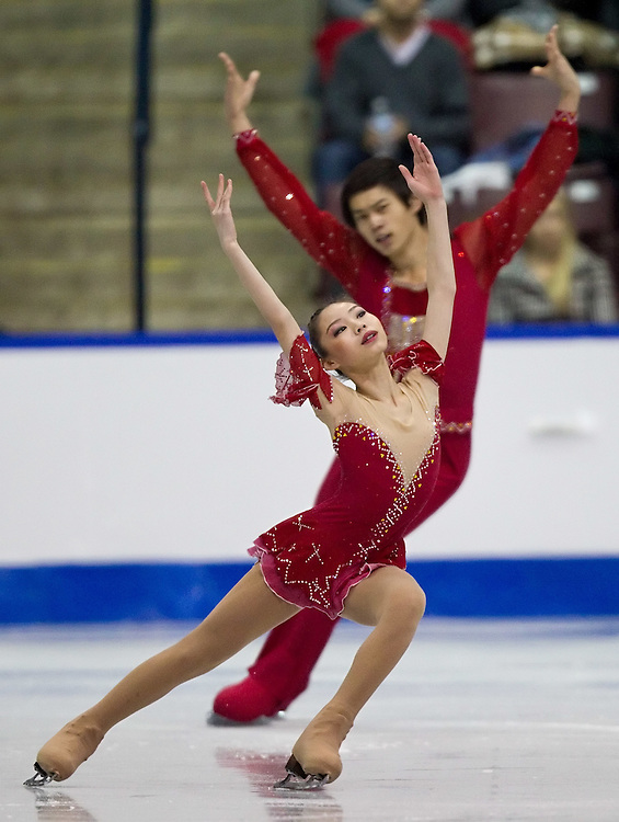 GJR325 -20111028- Mississauga, Ontario, Canada-  Xiaoyu Yu and Yang Jin of China skate their short program at Skate Canada International, October 28, 2011.<br /> AFP PHOTO/Geoff Robins