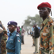 Soldiers oversee preparations at Garang Masoleum in Juba for Southern Sudan's independence ceremonies on July 9..