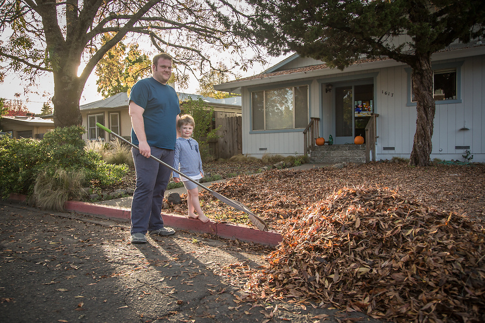 """Euro Spa owner John T. Kennedy with his four year old son, Jacob, in front of this house on Harley Street in Calistoga.  """"...what do I want in life...I'm doing it...I love being an entrepenure!"""""""