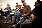 Resident Hidalgo Sanchez listens during a meeting of the Parklawn United Neighbors in Modesto, Calif., March 1, 2012.