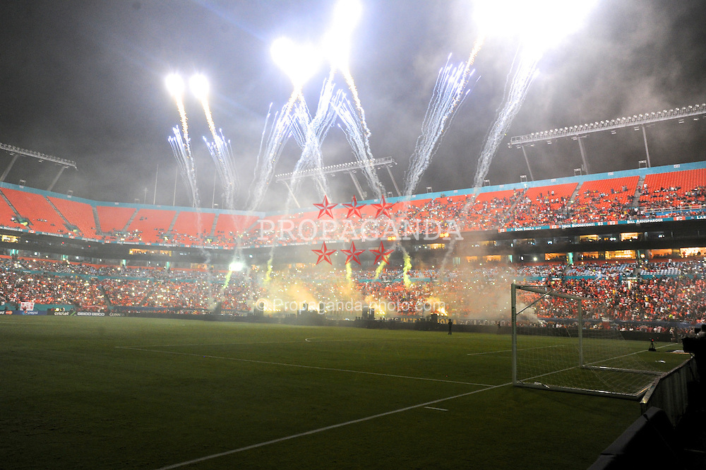 MIAMI, USA - Monday, August 4, 2014: A firework and laser show during half time of the International Champions Cup Final match between Liverpool and Manchester United at the SunLife Stadium on day fifteen of the club's USA Tour. (Pic by David Rawcliffe/Propaganda)