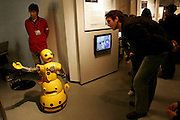 """Wakamaru"" reception robot, interacting with visitors incide the robot station at the AICHI WORLD EXPO 2005, Nagoya 4-April-2005, Japan"