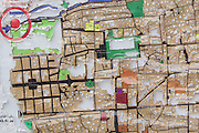 Damaged tourist map of Damascus, Syria