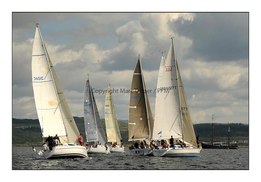 Brewin Dolphin Scottish Series 2012, Tarbert Loch Fyne - Yachting - Day 1 - Bowmore Fleet..Class 2 Start including 3401C ,Rogue Trader ,James Cumming ,CCC/FYC ,Elan 340 and GBR6917T ,Celtic Spirit ,Brian Robertson ,CCC ,X332.