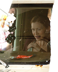 """Brad Pitt's co-star Mireille Enos filming in a camper van, on the set of the movie """"World War Z"""" being shot today in Grangemouth, Scotland. The film, which is set in Philadelphia, is being shot in various parts of the Glasgow, transforming it to shoot the post apocalyptic zombie film."""