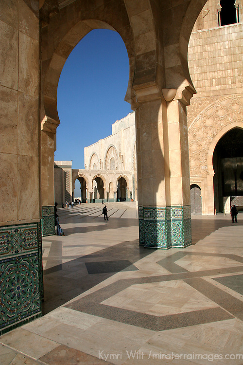 North Africa, Morocco, Casablanca. Hassan II Mosque courtyard arch