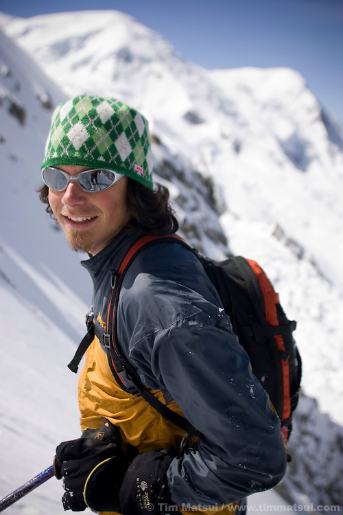 Caucasian male skier in Chamonix, France.