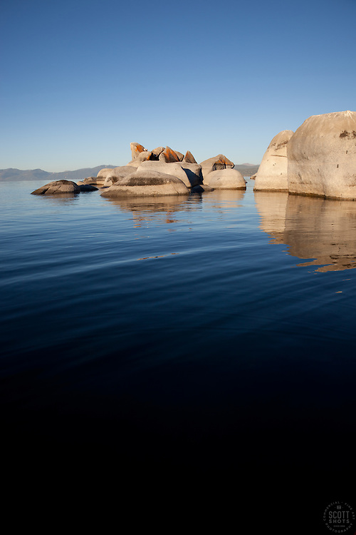 """Boulders at Lake Tahoe 2"" - These boulders were photographed from a kayak early in the morning at Lake Tahoe, near Speed Boat Beach."