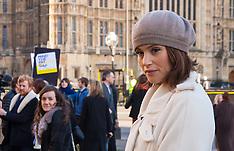 2014-12-16 Made in Dagenham star Gemma Arterton campaigns at Parliament over gender pay gap.
