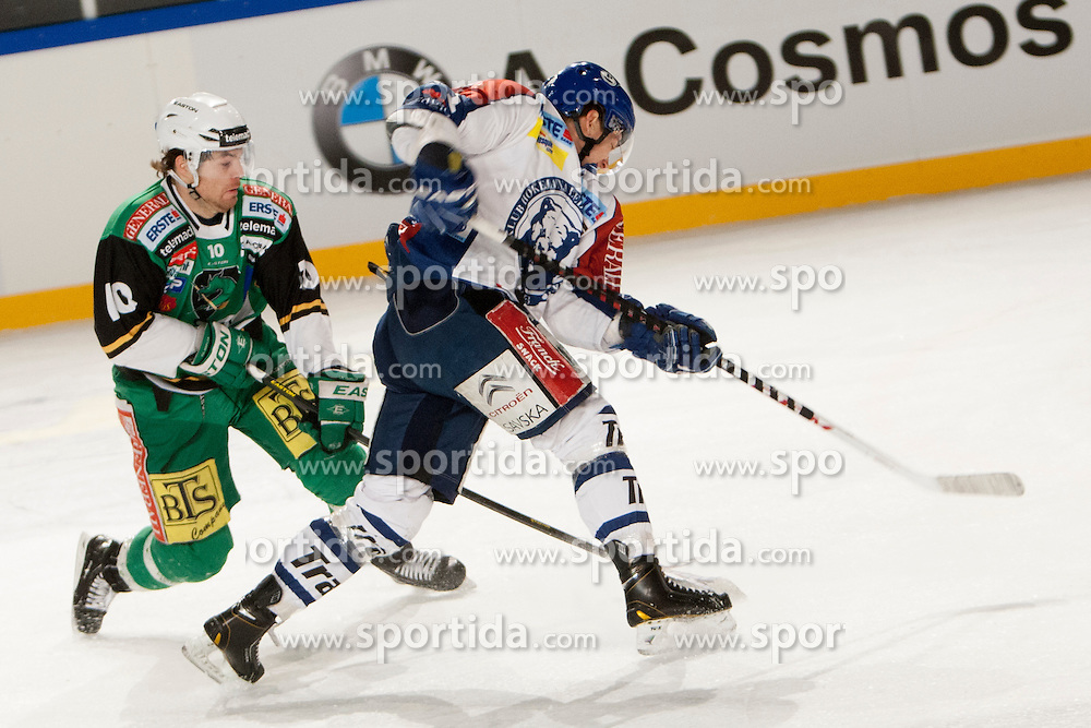 06.01.2013, Stadium Bezigrad, Ljubljana, SLO, EBEL, HDD Telemach Olimpija Ljubljana vs KHL Medvescak Zagreb 39. Runde, in picture Brock McBride (HDD Telemach Olimpija, #10) during the Erste Bank Ice Hockey League in 39th Round match between HDD Telemach Olimpija Ljubljana and KHL Medvescak Zagreb at the open ice winter classic Stadium Bezigrad, Ljubljana, Slovenia on 2013/01/06. (Photo By Urban Urbanc / Sportida.com)