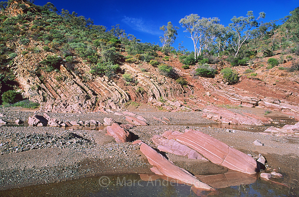 Metamorphic rock layers in Brachina Gorge, Flinders Ranges National Park, South Australia.