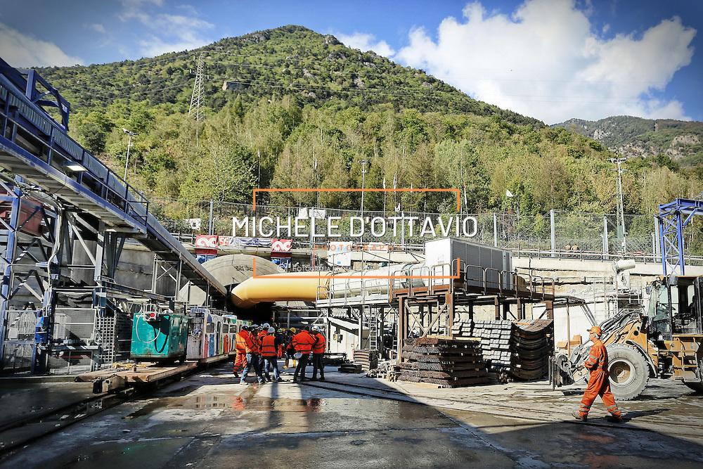 CHIOMONTE (TORINO) -10 ottobre 2016 - ingresso  cantiere della galleria geognostica  linea ferroviaria Tav Torino Lione.