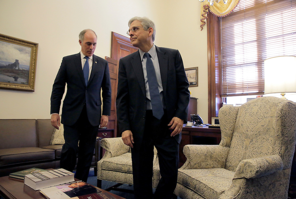Judge Merrick Garland (L), President Obama's Supreme Court nominee, meets with Senator Bob Casey (D-PA) in his office on Capitol Hill in Washington March 22, 2016.      REUTERS/Joshua Roberts