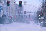 Alaska. Fairbanks. Blowing snow at South Cushman St.