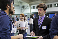 02/11/2015 - Students take part in the 2015 Spring Job & Internship Fair at the The Gantcher Center on Wednesday afternoon. (Matthew Healey for Tufts University)