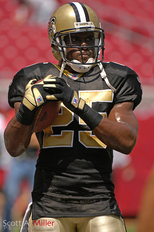 Sep 16, 2007; Tampa, FL, USA; New Orleans Saints running back (25) Reggie Bush prior to his team's game against the Tampa Bay Buccaneers at Raymond James Stadium. Tampa Bay won the game 31-14...©2007 Scott A. Miller
