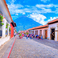 ANTIGUA , GUATEMALA - JULY 30 : Street view of Antigua Guatemala on July 30 2015. The historic city Antigua is UNESCO World Heritage Site since 1979.