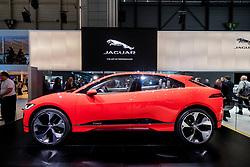 World premiere of Jaguar iPace electric SUV concept vehicle at Geneva International Motor Show 2017