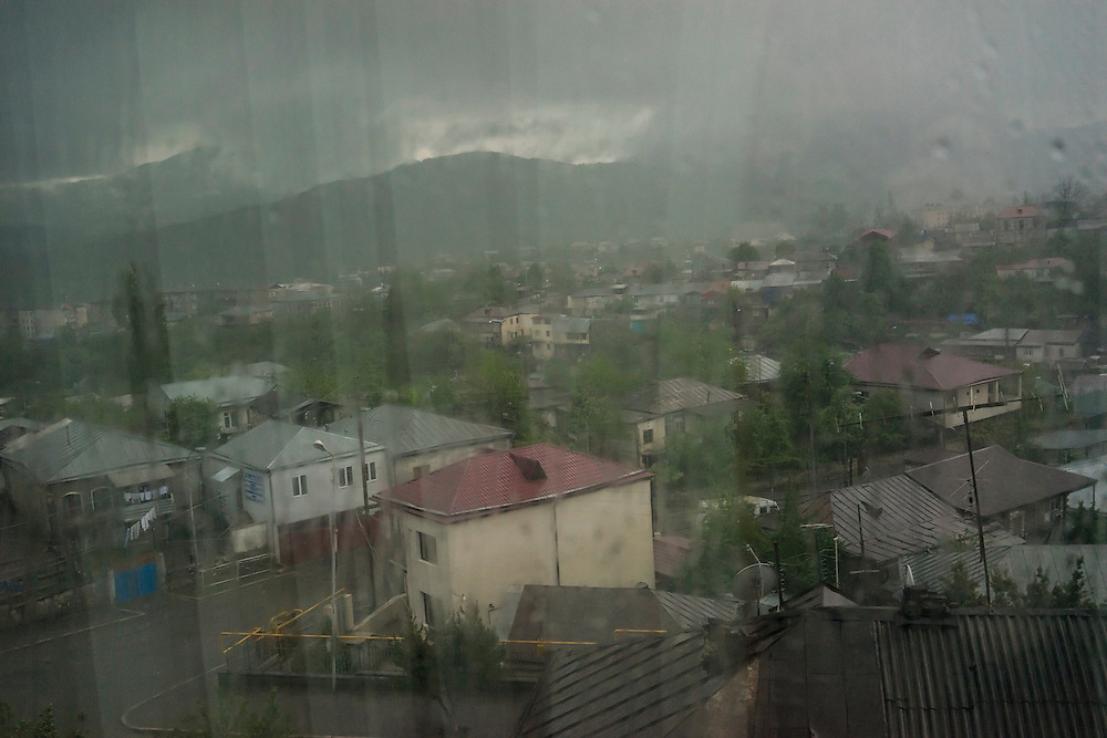 A morning thunderstorm on Sunday, May 8, 2016 in Stepanakert, Nagorno-Karabakh.