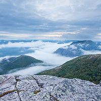 Layers of clouds attempt to hide the beauty of Parc National des Grands Jardins. Quebec, Canada