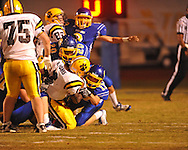 Oxford High's Conrey Meagher(17) and Oxford High's Juan Edwards (20) make a tackle vs. Hernando in Oxford, Miss. on Friday, October 14, 2011. Hernando won 31-30 in overtime.