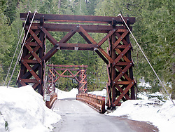 Wooden Suspension Bridge across the Nisqually River at Longmier in Mount Rainier National Park, Washington, USA