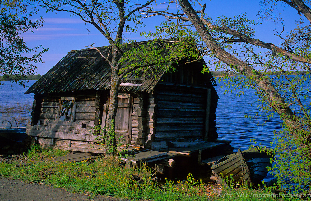 Europe, Russia, Kizhi Island. Boathouse