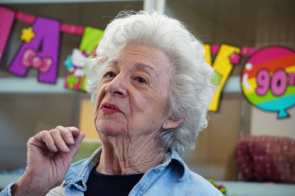 apl041717w/ASECTION/pierre-louis/JOURNAL 041717<br /> Florence Sander,, a volunteer at the Eastside Animal Shelter , celebrates her 90th birthday with a surprise party thrown by employees  .Photographed on Monday April 17, 2017. .Adolphe Pierre-Louis/JOURNAL