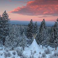 Tipi in snow, Oregon, USA
