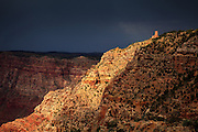 The Watchtower at Desert View with a bacdrop of a stormy sky. Grand Canyon National Park in Arizona.