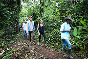 Ecuador: UNHCR Special Envoy Angelina Jolie walks through the jungle led by Plinio, the President of Providencia community.<br /> <br /> This community located on the banks of the San Miguel border is composed of 24 Afro-Colombian families, all of them refugees. This community settled there in 1994 but had never received the visit of any institution until 2008 when UNHCR reached them for the first time. Their isolation makes them extremely vulnerable to the Colombian conflict (selective assassinations, forced recruitment, etc.) and considerably limits their access to rights.  Since 2008, all the members have been registered as refugees, their children born on the Ecuadorian soil granted with Ecuadorian IDs and thanks to the coordination with local institutions, the community now has a primary school hosting more than 50 children<br />  <br /> The UN refugee agency&rsquo;s new Special Envoy of High Commissioner Antonio Guterres, Ms. Angelina Jolie, is visiting Ecuador this weekend in her first field visit since being appointed to her new position this month.<br /> <br /> Ms. Jolie, who conducted more than 40 field visits over the last decade<br /> as UNHCR&rsquo;s Goodwill Ambassador, is on her third trip to Ecuador to<br /> assess the current situation for refugees from Colombia &ndash; the largest<br /> refugee population in Latin America.<br /> <br /> Ecuador currently hosts some 56,000 refugees, 21,000 asylum-seekers and continues to receive 1,300 new applications for protection each month from people fleeing Colombia&rsquo;s ongoing violence.  Many live in the remote and poor northern areas of the country close to the Colombian border.<br /> <br /> &copy;UNHCR/JTanner/April 2012
