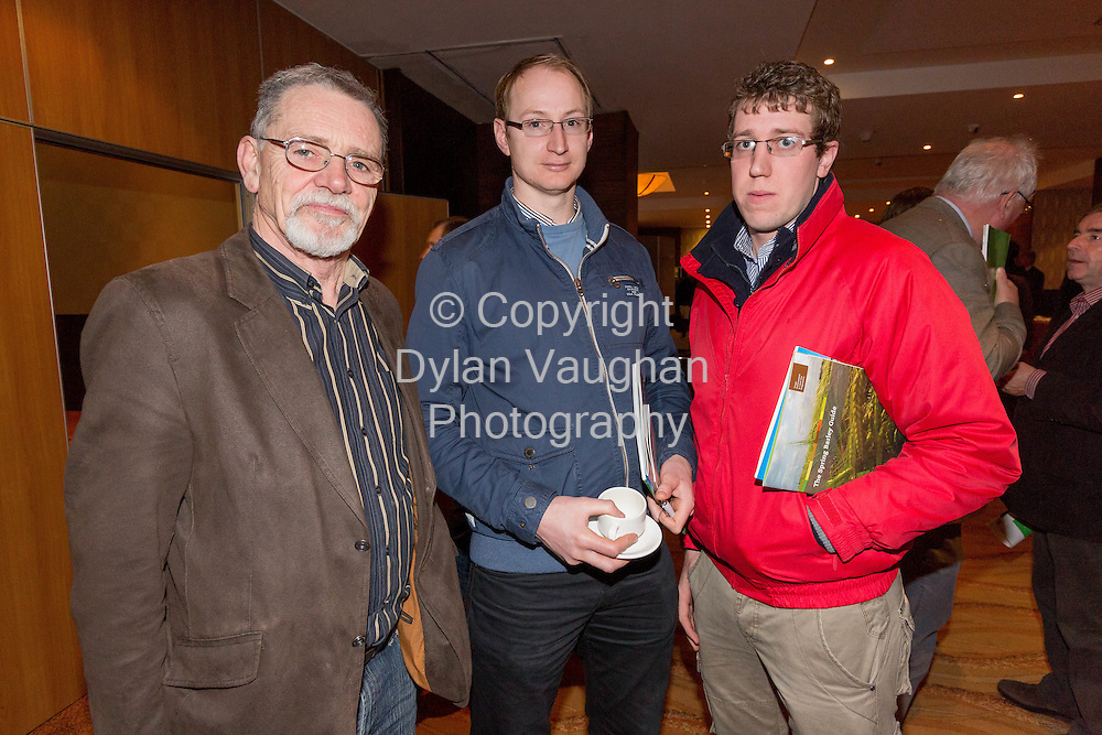 Repro Free No Charge for Repro<br /> 29-1-15<br /> Greening, Yields and Good Pesticide Practice: key themes at Teagasc National Tillage Conference.<br /> <br /> Pictured at the conference was from left Paul O'Doherty, CPSA; Trevor Cook, NAD and Daniel Norris, NAD.<br /> <br /> At the Teagasc National Tillage conference in Kilkenny today, Thursday, 29 January, Paud Evans of the Department of Agriculture, Food and the Marine presented the latest information on CAP reform and &lsquo;Greening&rsquo;. Teagasc adviser Ivan Whitten and Kildare farmer Tim Ronaldson explained what they have been doing to ensure compliance from a practical point of view, Ivan stressed that &lsquo;Urgent action is needed and farmers must pay close attention to their obligations in order to optimise their own situation&rsquo;.<br /> The reform of the Common Agricultural Policy and the move from the single farm payment to the Basic Payment Scheme will significantly reduce the payments made to tillage farmers in Ireland, and the reductions will increase over the coming five years. A proportion of this shortfall can be made up by ensuring that their farms comply with &lsquo;greening&rsquo; requirements, the associated payments can make up 30% of the total payments available.<br /> Speaking at the conference John Spink pointed out, however, that &lsquo;the key to the future profitability of the tillage sector is to exploit our high yield potential with rotations playing a key role. He said that three of the main factors which determine profitability in good rotations are: profitable break crops, cost effective and sustainable disease control, and an understanding of crop growth and yield formation. These three factors will together maximise yield.&rsquo;<br /> The new Teagasc/IFA funded break crop research programme was presented by John Carroll outlining bean agronomy for the coming season for those looking to introduce a new crop into their rotation to comply with the 3 crop rule and avail of up to &euro;250/ha in additional payments under the protein payment.<br /> Reporting on the latest