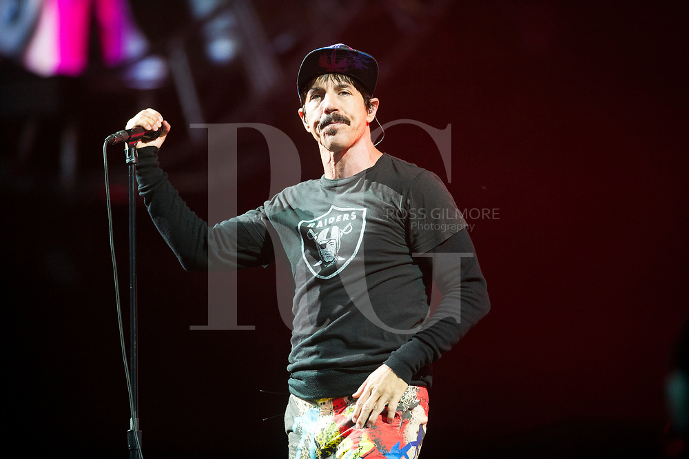 Anthony Kiedis of the Red Hot Chili Peppers headlines the main stage on day 3 of the T in the Park Festival, 10 July, 2016, Scotland.