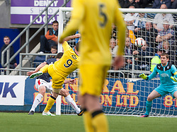 Queen of the South's Bob McHugh (9) scoring their goal.<br /> Half time : Falkirk 0 v 1 Queen of the South, Scottish Premiership play-off quarter-final second leg played today at the Falkirk Stadium.<br /> &copy; Michael Schofield.