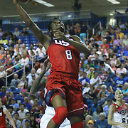 United States Forward Angel McCoughtry (8) drives to the basket in the first half of a USA Women's National Team Exhibition game between Red and White Thursday, Sept. 11, 2014 at The Bob Carpenter Sports Convocation Center in Newark, DEL