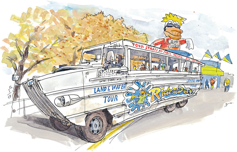 Ride the Ducks land and water tours.<br />