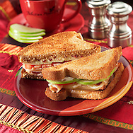 Apple turkey sandwich on toasted wheat bread