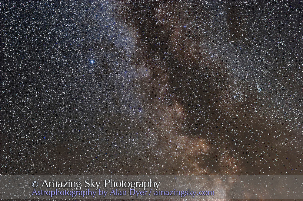 Aquila with S-O Double Cluster at right, taken from home Sept.12, 2007 for stack of 4 x 4 minute exposures with 35mm L-series lens at f/2.8 and Canon 20Da camera at ISO 400. Glow layer added to emphasize stars.