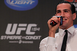 Montreal, Quebec, CAN - November 16, 2012: UFC Welterweight Rory MacDonald speaks to fans at the UFC 154 Fan Club Q & A at New City Gas in Montreal, Quebec, Canada.