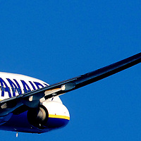 Ryanair Boeing 737-800 taking off from Cork Airport.<br />
