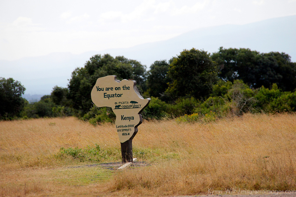 Africa, Kenya, Nanyuki. Equator Marker in Sweetwaters Game Reserve at Ol Pejeta Conservancy.