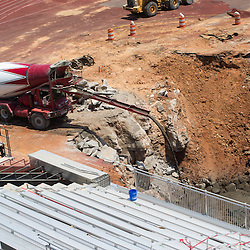 The construction on the sinkhole continues at Governors Stadium on Wednesday, May 21, 2014. (Bill Persinger, APSU)