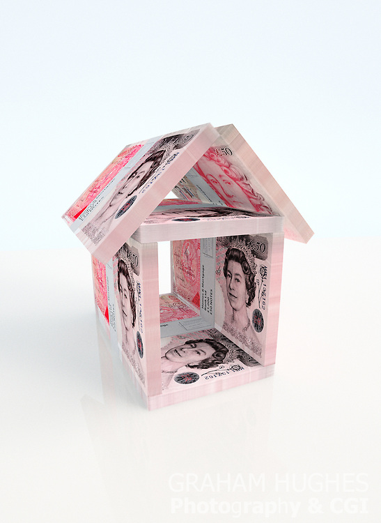 Stacks of British cash arranged into house shape.