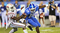 September 15, 2012 - Lexington, Kentucky, USA - WKU'S KAREEM PETERSON was called for pass interference on UK's E.J. FIELDS which helped extend UK's late drive in the second half as Western Kentucky University defeated the University of Kentucky, 32-31, on a trick play in overtime. (Credit Image: © David Stephenson/ZUMA Press).