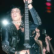 Gene Simmons, Paul Stanley & Mark St. John of Kiss performing live in Poughkeepsie , NY - Nov 1984