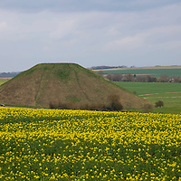 Europe, Great Britain, England, Avebury. Silbury Hill, a prehistoric chalk mound near Avebury, part of UNESCO World Heritqage Sites.