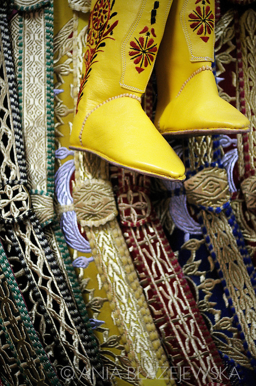 Morocco, Marrakesh. Traditional moroccan horse riding shoes form the souk in Marrakesh..