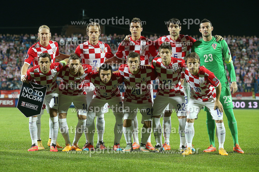13.10.2014, Stadion Gradski vrt, Osijek, CRO, UEFA Euro Qualifikation, Kroatien vs Aserbaidschan, Gruppe H, im Bild Domagoj Vida, Ivan Rakitic, Mario Mandzukic, Vedran Corluka, Danijel Subasic, Darijo Srna, Marcelo Brozovic, Danijel Pranjic, Mateo Kovacic, Andrej Kramaric, Luka Modric // during the UEFA EURO 2016 Qualifier group H match between Croatia and Azerbaijan at the Stadion Gradski vrt in Osijek, Croatia on 2014/10/13. EXPA Pictures &copy; 2014, PhotoCredit: EXPA/ Pixsell/ Igor Kralj<br /> <br /> *****ATTENTION - for AUT, SLO, SUI, SWE, ITA, FRA only*****