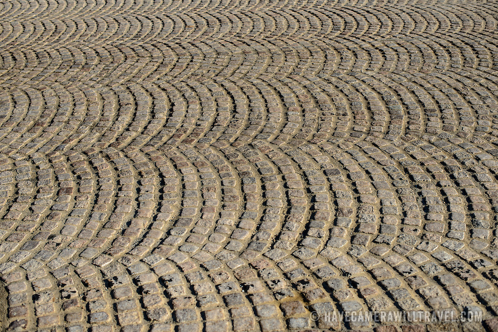 The patterned surface of a cobblestone road on Memorial Bridge in Arlington, Virginia, United States.